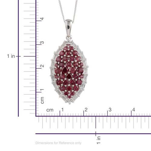Rhodolite Garnet (Rnd), White Topaz Cluster Pendant With Chain in Platinum Overlay Sterling Silver 5.000 Ct.