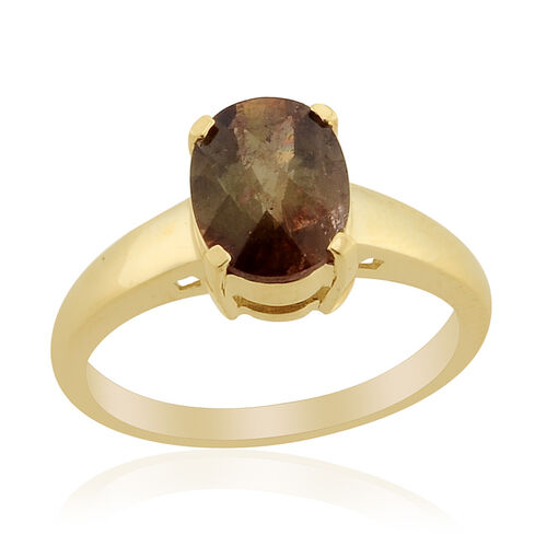 9K Y Gold Jenipapo Andalusite (Ovl) Solitaire Ring  1.650 Ct.