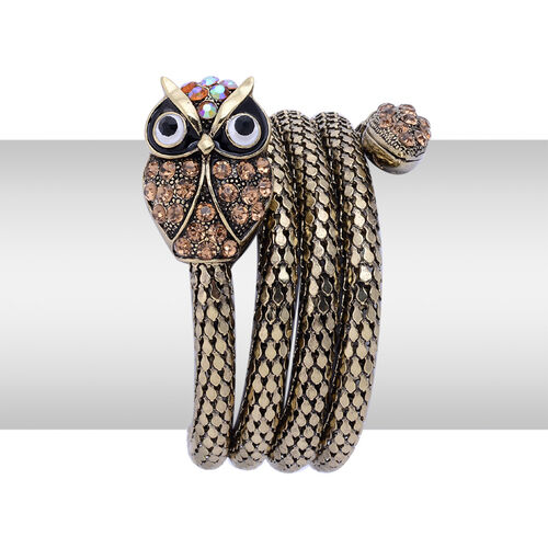 Black, Champagne and Multi Colour Austrian Crystal Enameled Owl Arm Wraps in Gold Tone