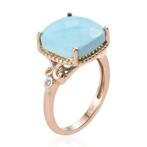 9K Y Gold Arizona Sleeping Beauty Turquoise (Cush 5.75 Ct), Diamond Ring 5.780 Ct.