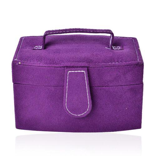 Purple Colour Velvet 2 Layer Jewelley Box with Mirror Inside (Size 15.3x11x8.8 Cm)