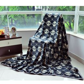 Superfine Microfibre Printed Flannel Blanket Blue with Knitted Border (Size 230x185 Cm)