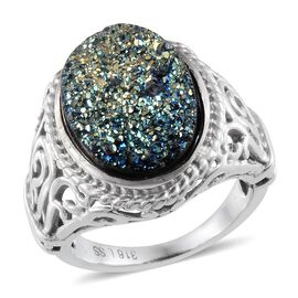 Rainbow Dyed Drusy (Ovl) Solitaire Ring in ION Plated Stainless Steel 8.500 Ct.