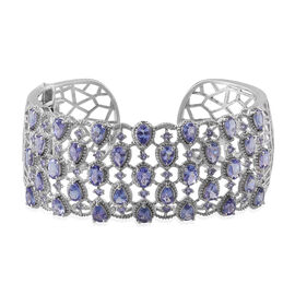 AA Tanzanite (Ovl), Diamond Cuff Bangle (Size 7.5) in Platinum Overlay Sterling Silver 13.520 Ct.