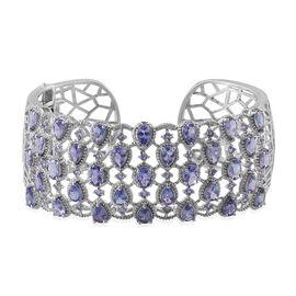 AA Tanzanite (Ovl), Diamond Cuff Bangle (Size 7.5) in Platinum Overlay Sterling Silver 13.520 Ct.