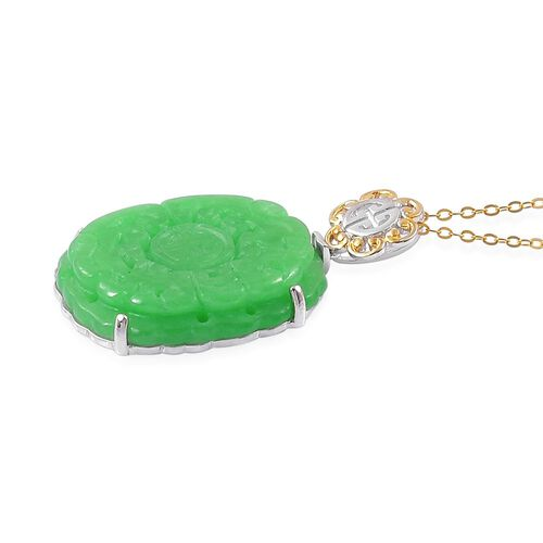 Limited Edition- Hand Polished Carved Green Jade Pendant With Chain in Yellow Gold Overlay Sterling Silver 29.500 Ct.