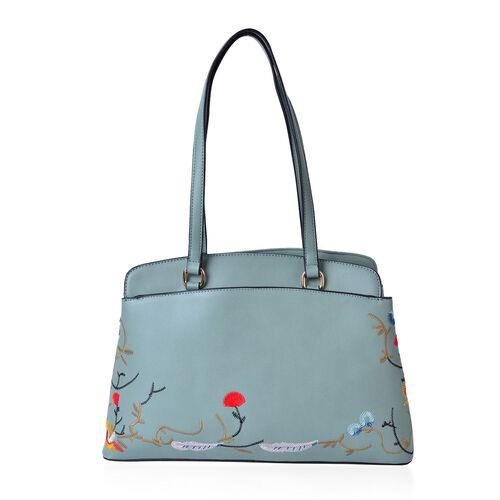 DOD - Floral Embroidered Green Colour Tote Bag (Size 35.5x24x11.5 Cm) with External Zipper Pocket