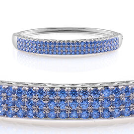 J Francis - Platinum Overlay Sterling Silver (Rnd) Bangle Made with Blue SWAROVSKI ZIRCONIA (Size 7.5)