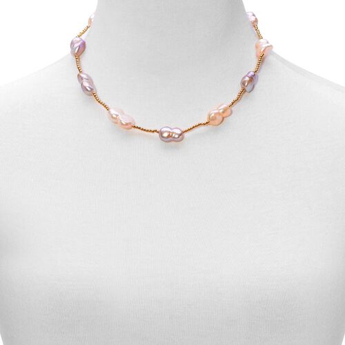 Fresh Water Peach and Purple Pearl Necklace (Size 18) in Gold Tone