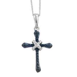 Blue and White Diamond (Rnd) Cross Pendant with Chain in Platinum Overlay Sterling Silver