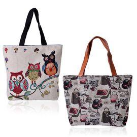 Set of 2 - Multi Colour Owl, Mushroom Pattern and Hats, Shoes Pattern Beige Colour Handbag (Size 45x30x10 Cm, 45x40x10 Cm)