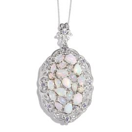 GP Ethiopian Welo Opal (Ovl), Tanzanite and Kanchanaburi Blue Sapphire Pendant With Chain in Platinum Overlay Sterling Silver 4.250 Ct.