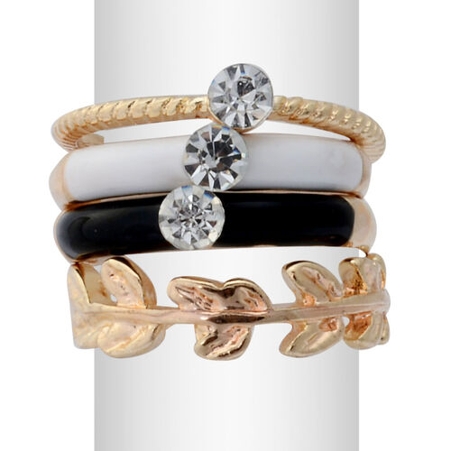 Set of 4 - White Austrian Crystal Stacking Ring in Gold Tone with Black and White Resin