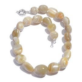 Botswana Agate Necklace (Size 20) in Silver Tone 633.430 Ct.