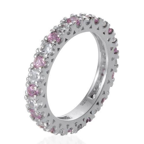 Pink Sapphire (Rnd), White Topaz Full Eternity Ring in Platinum Overlay Sterling Silver 1.650 Ct.