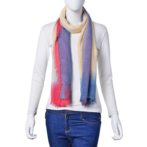 Beige, Pink and Blue Colour Scarf with Fringes (Size 180X90 Cm)