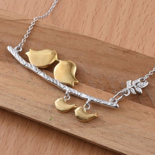 Platinum and Yellow Gold Overlay Sterling Silver Birds and Leaves Necklace (Size 18), Silver wt 9.60 Gms.
