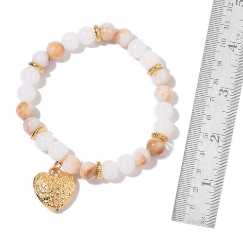 Set of 5 - Simulated White Agate, Simulated Champagne Diamond and Golden Beads Stretchable Bracelet (Size 7) with Charms in Yellow Gold Tone