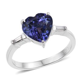 ILIANA 18K White Gold 2.75 Carat AAA Tanzanite And Diamond (SI/G-H) Heart Ring