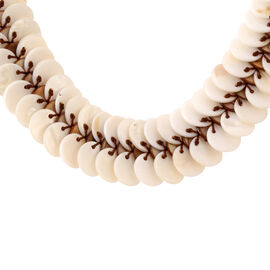 Brown Shell Pearl and White Shell Pearl Coins Necklace (Size 20)