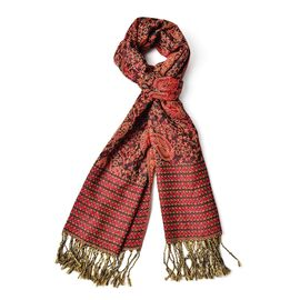 Beige and Multi Colour Paisley Pattern Coffee and Red Colour Scarf with Tassels (Size 170x65 Cm)