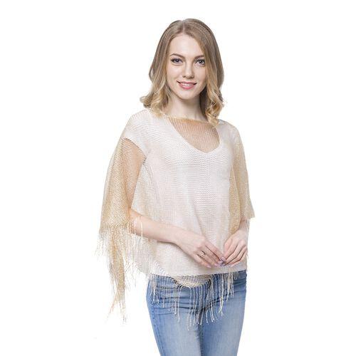 Golden Colour Net Poncho (Size 150x45 Cm) and White Colour Vest (Size 60x55 Cm)