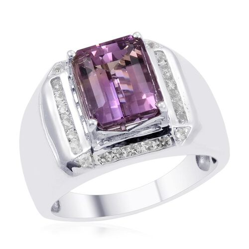 Designer Collection Bolivian Ametrine (Oct 6.25 Ct), White Topaz Ring in Platinum Overlay Sterling Silver 7.250 Ct.