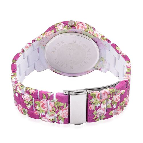 STRADA Japanese Movement White Austrian Crystal Studded Floral Dial Water Resistant Watch in Silver Tone with Stainless Steel Back and Floral Pattern Purple Colour Strap