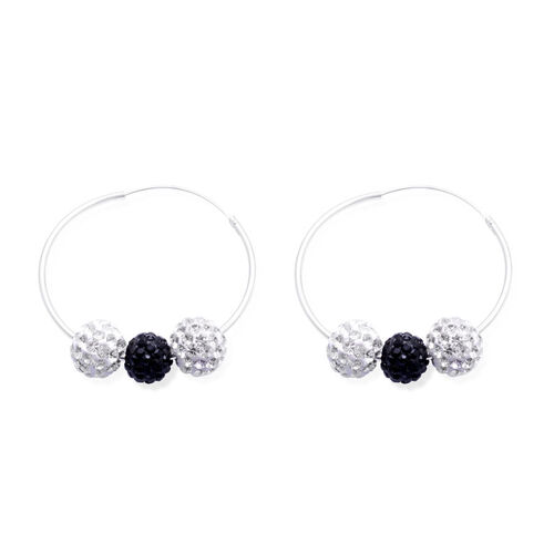 Black and White Austrian Crystal Hoop Earrings in Sterling Silver
