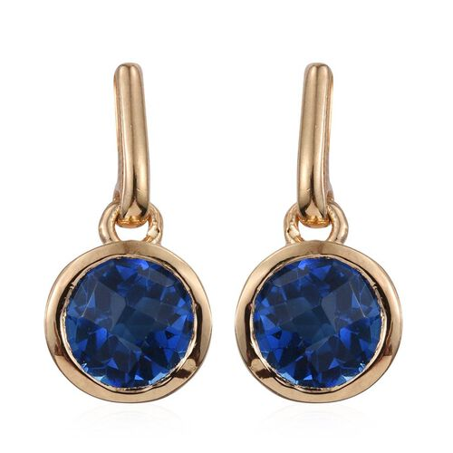 Checkerboard Cut Ceylon Colour Quartz (Rnd) Earrings (with Push Back) in 14K Gold Overlay Sterling Silver 4.500 Ct.