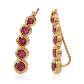 Burmese Ruby (Rnd) Climber Earrings in 14K Gold Overlay Sterling Silver 1.500 Ct.
