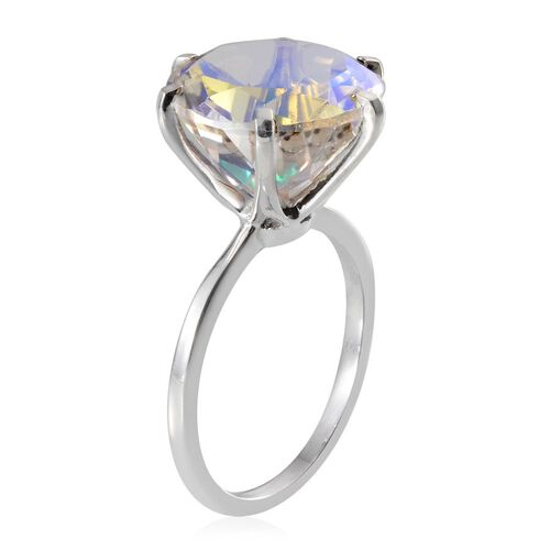 Mercury Mystic Topaz (Rnd) Solitaire Ring in Platinum Overlay Sterling Silver 9.750 Ct.