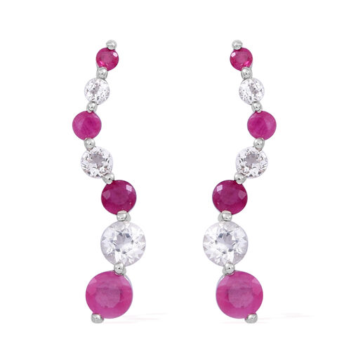 Burmese Ruby (Rnd), White Topaz Earrings in Rhodium Plated Sterling Silver 2.000 Ct.