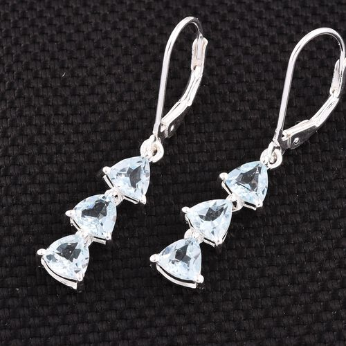 Sky Blue Topaz (Trl) Lever Back Earrings in Sterling Silver 3.000 Ct.