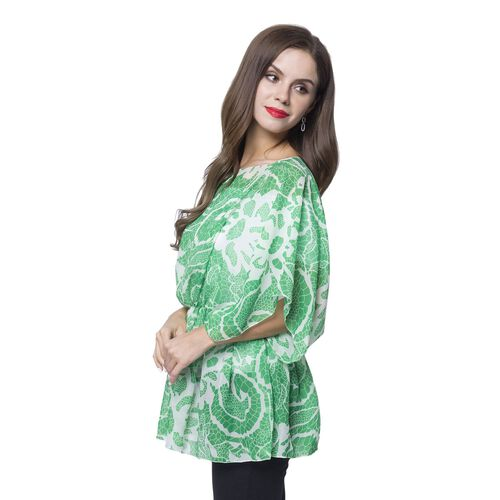 Green and White Colour Floral Pattern Poncho (Free Size)