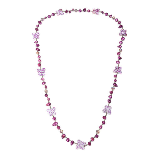Purple Keshi Pearl, Dyed Shell, Simulated Grey Moonstone and Simulated Amethyst Necklace (Size 36) 150.200 Ct.