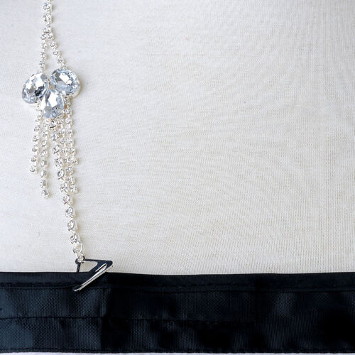 (Option 2) Close Out Deal White Austrian Crystal Support Strap in Silvertone