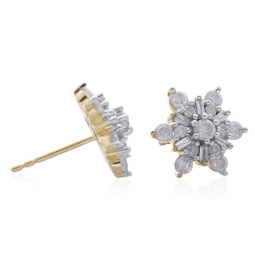 9K Yellow Gold 1 Carat Diamond Snowflake Stud Earrings SGL Certified I3 G-H.