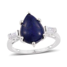 Lapis Lazuli (Pear), White Topaz Ring in Sterling Silver Ring 5.500 Ct.