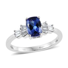 RHAPSODY 950 Platinum 1.75 Carat AAAA Tanzanite Cushion Ring With Diamond VS E-F