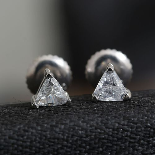 RHAPSODY 950 Platinum 0.30 Carat SGL Certified Diamond Trillion Stud Earrings with Screw Back VS/E-F