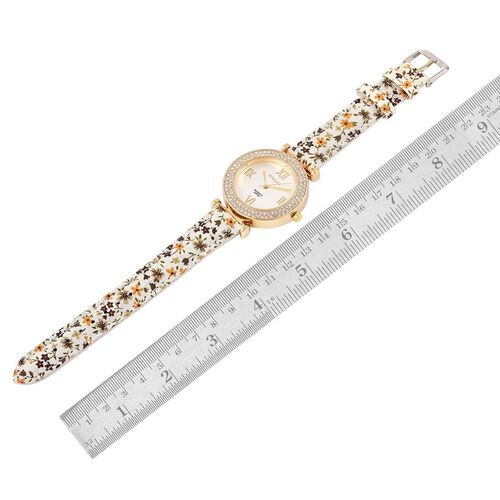 STRADA Japanese Movement White Austrian Crystal Studded Watch in Gold Tone with Yellow and Brown Colour Floral Strap