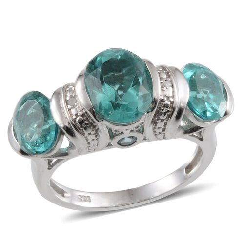Paraiba Tourmaline Colour Quartz (Ovl 2.75 Ct), Blue Topaz and Diamond Ring in Platinum Overlay Sterling Silver 5.920 Ct.