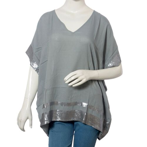 Grey Colour loose fit top with Silver Sequins at the Border (Free Size)
