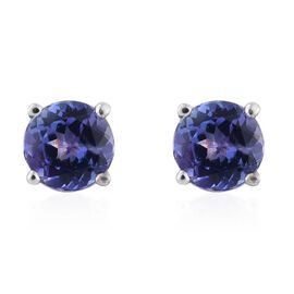 14K White Gold 1 Carat AA Tanzanite Round Stud Earrings (with Push Back)
