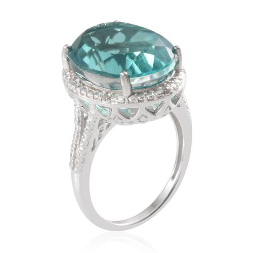 Paraiba Tourmaline Colour Quartz (Ovl 9.75 Ct), Diamond Ring in Platinum Overlay Sterling Silver 9.790 Ct.