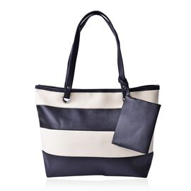Set of 2 -Bianca Monochrome Black and White Large Tote Handbag (Size 42x33x30x11.5 Cm) and Small Pouch (Size 15x12 Cm)