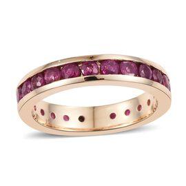 ILIANA 18K Y Gold AAAA Burmese Ruby (Rnd) Full Eternity Band Ring 3.000 Ct.