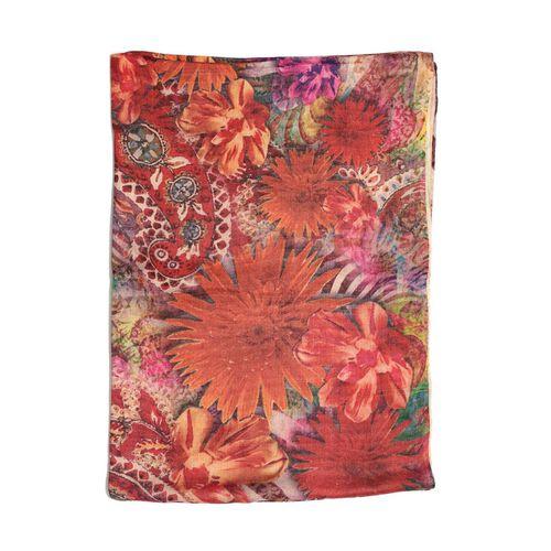 Digital Floral Pattern Pink Colour Scarf (Size 70x180 Cm)