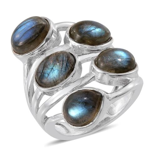 Labradorite (Ovl) Ring in Platinum Overlay Sterling Silver 10.500 Ct.